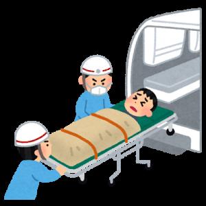 救急車で病院に運ばれる患者