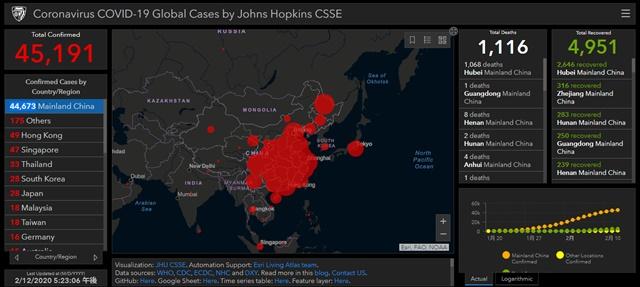 コロナ感染マップ(世界)